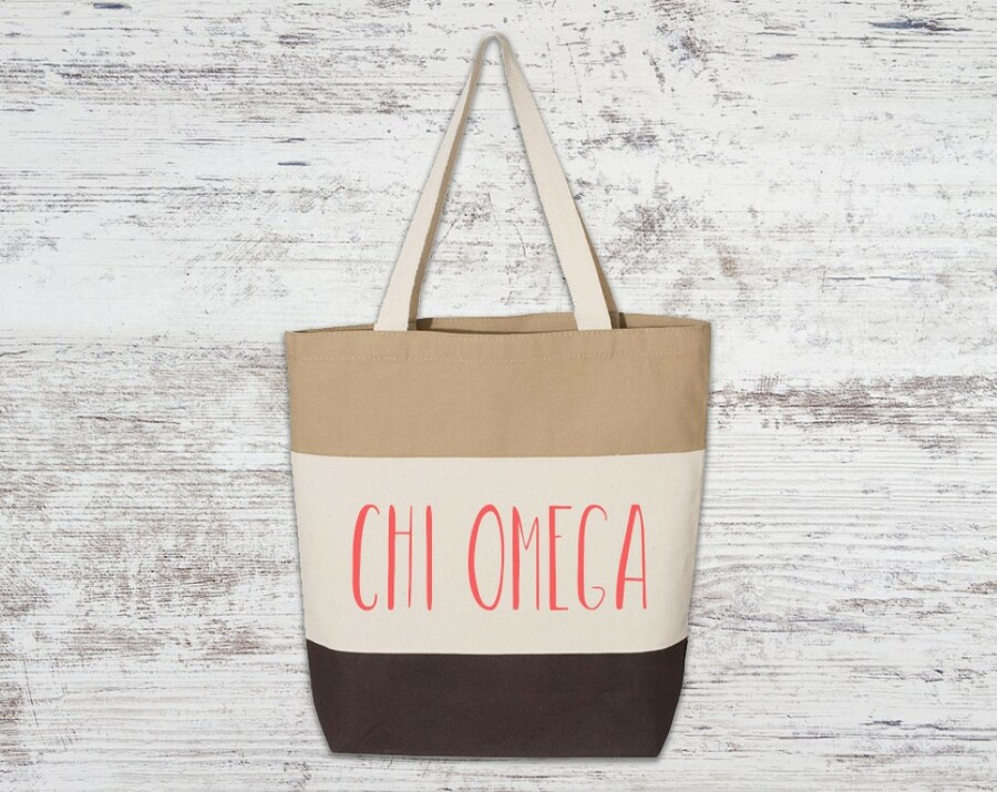 Chi Omega Tri Color Tote Bag