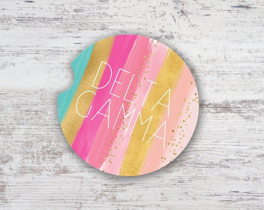 Delta Gamma Bright Stripes Sandstone Car Cup Holder Coaster