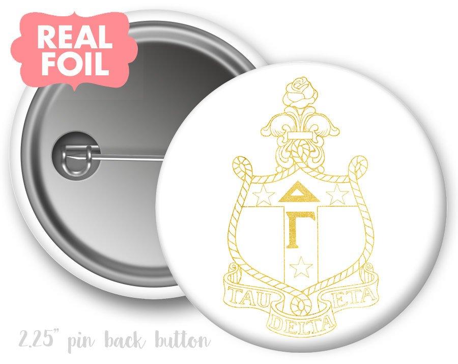 Delta Gamma Foil Crest - Shield Button