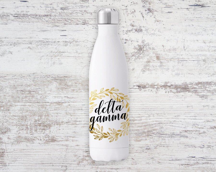 Delta Gamma Gold Wreath Steel Water Bottle