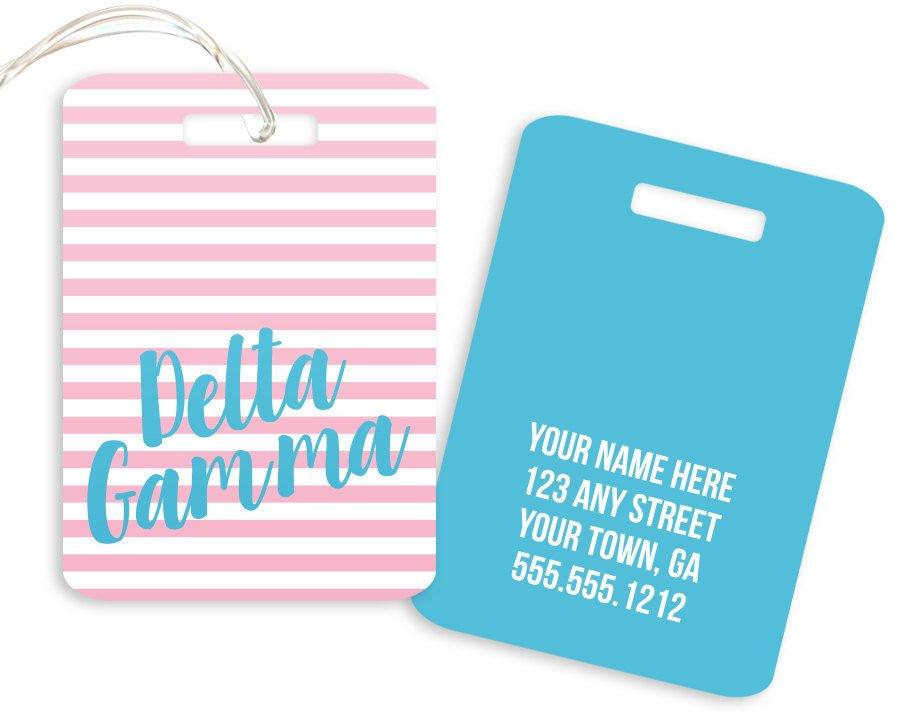Delta Gamma Personalized Striped Luggage Tag