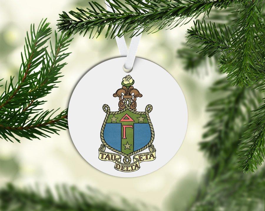 Delta Gamma Round Acrylic Crest - Shield Ornament