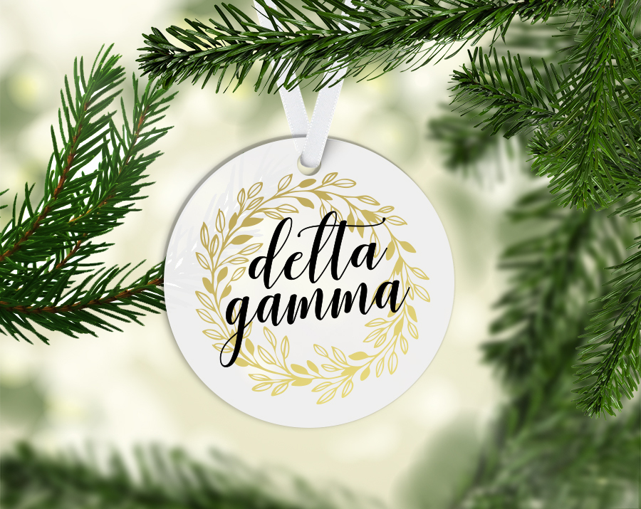 Delta Gamma Round Acrylic Gold Wreath Ornament