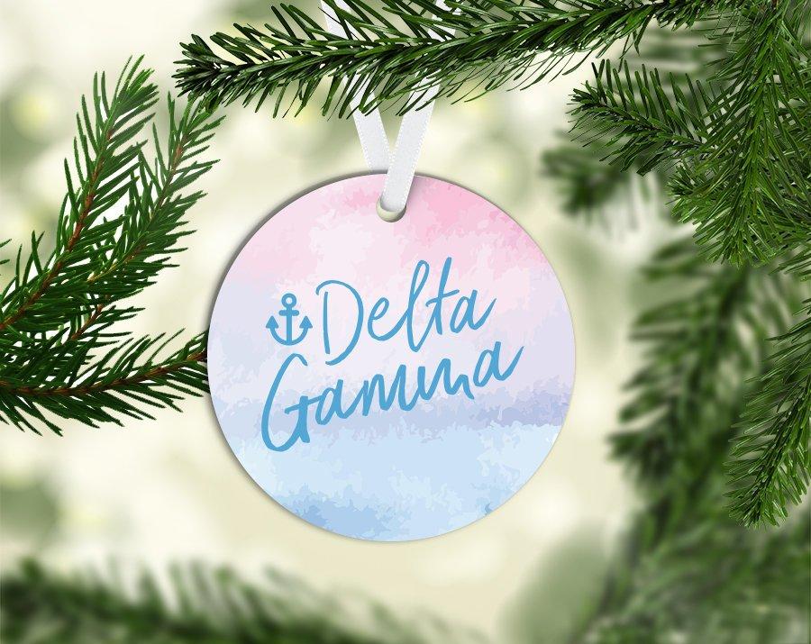 Delta Gamma Round Acrylic Watercolor Ornament