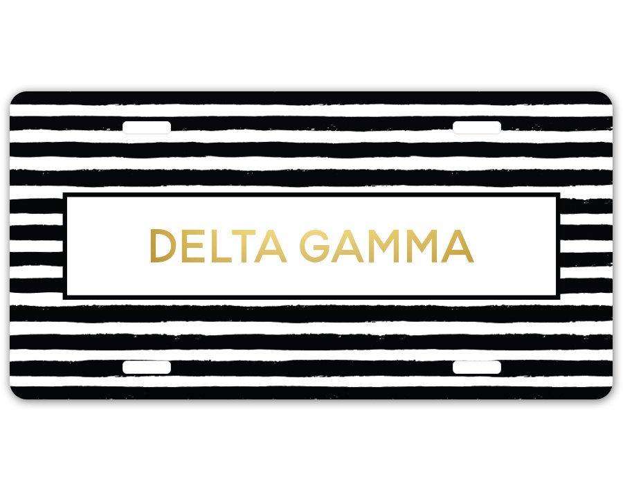 Delta Gamma Striped Gold License Plate