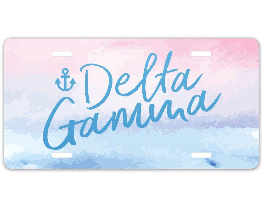 Delta Gamma Watercolor Script License Plate