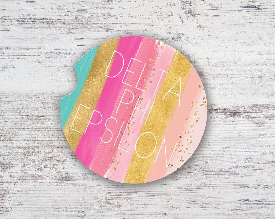 Delta Phi Epsilon Bright Stripes Sandstone Car Cup Holder Coaster