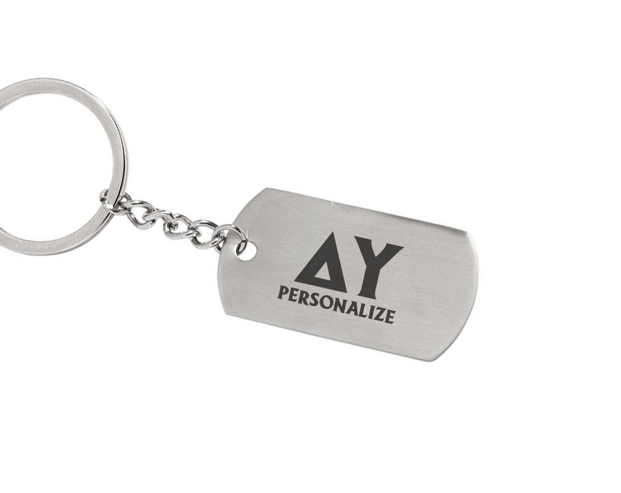 Delta Upsilon Dog Tag Style Custom Keychain
