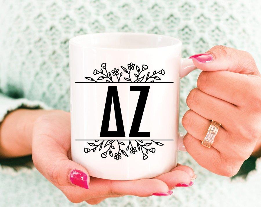 Delta Zeta Floral Letters Mug