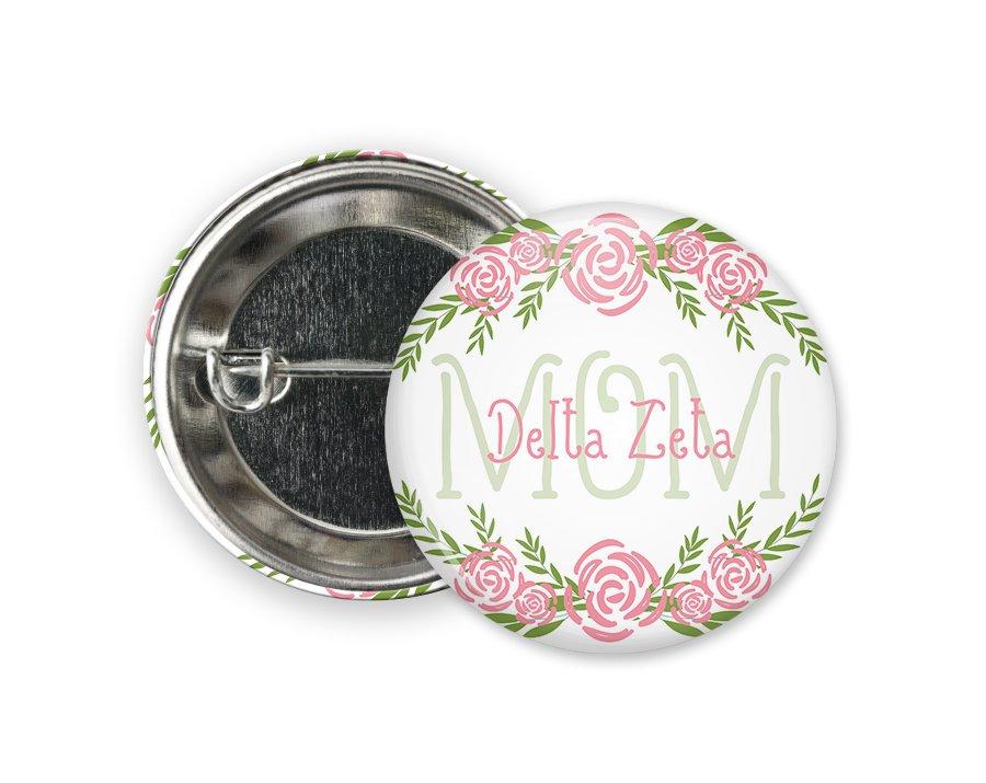 Delta Zeta Mom Floral Button