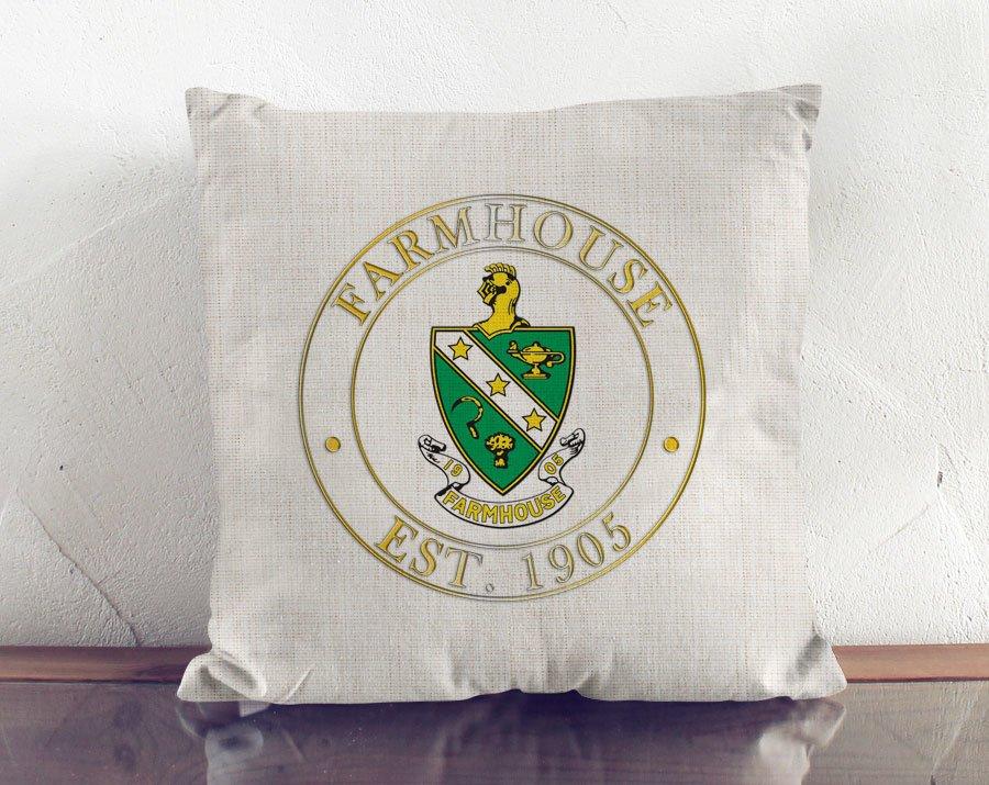 FARMHOUSE Crest Linen Pillow