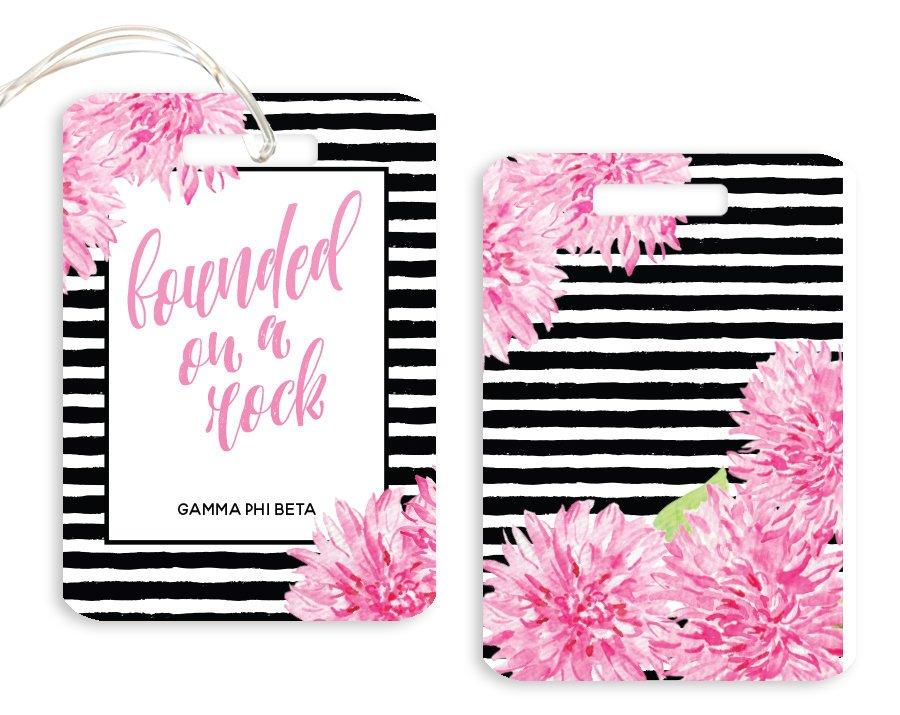 Gamma Phi Beta Floral Motto Luggage Tag