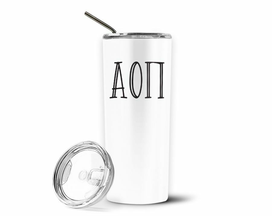 Alpha Omicron Pi Inline Stainless Tumbler