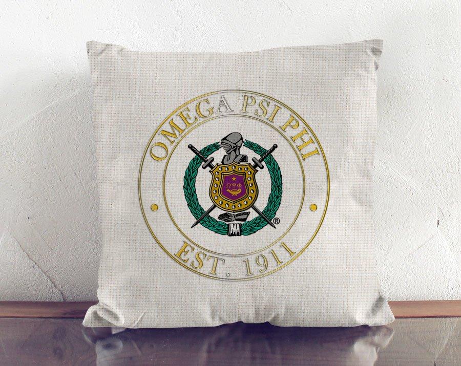 Omega Psi Phi Crest Linen Pillow