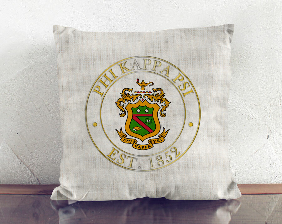 Phi Kappa Psi Crest Linen Pillow