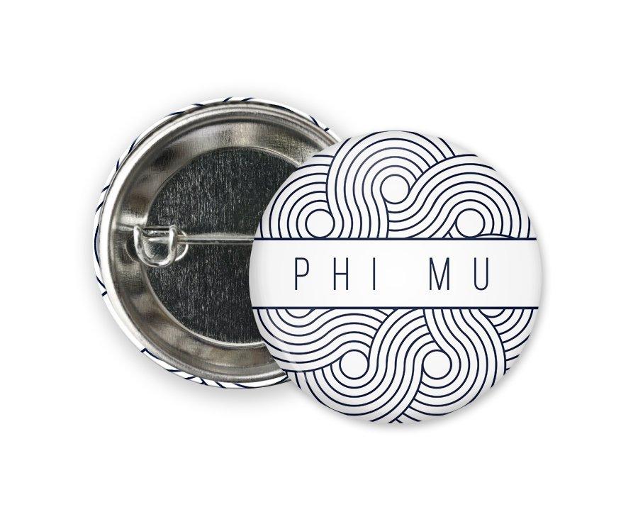Phi Mu Geo Scroll Button Pin