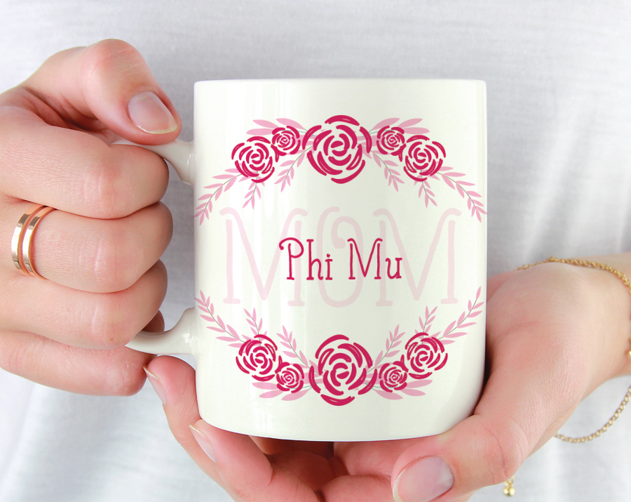 Phi Mu Mom Floral Mug