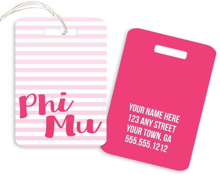Phi Mu Personalized Striped Luggage Tag