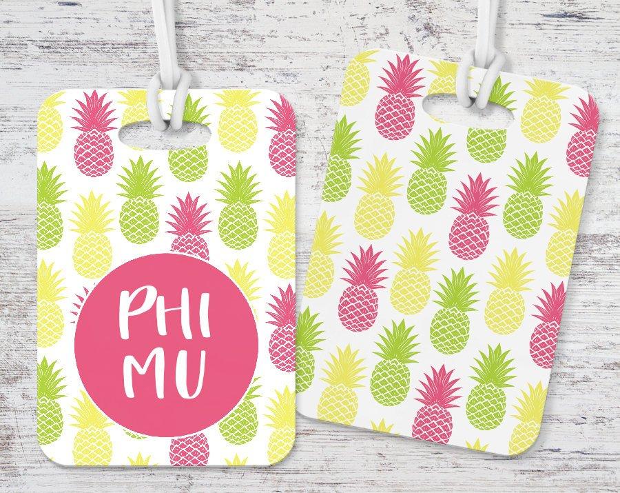 Phi Mu Pineapple Luggage Tag