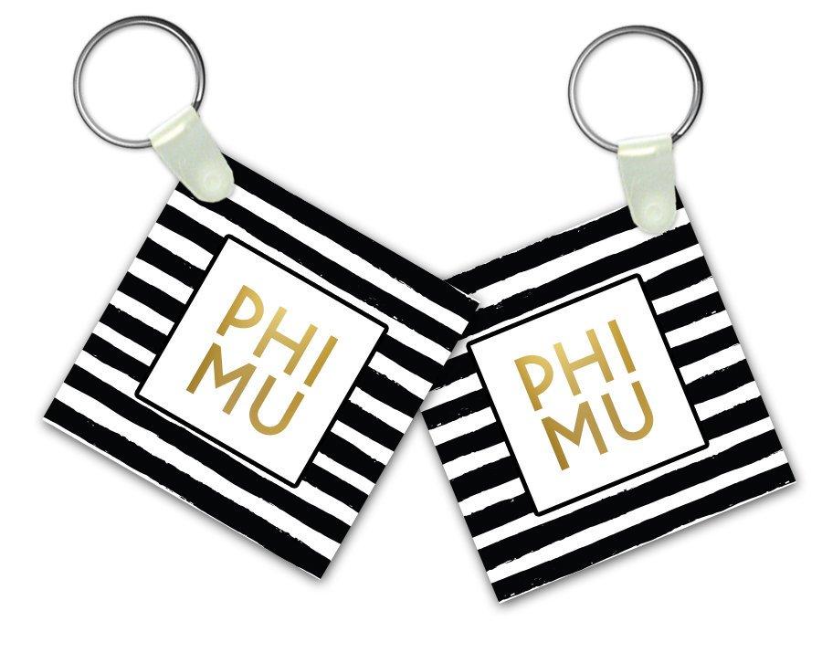 Phi Mu Striped Gold Keychain