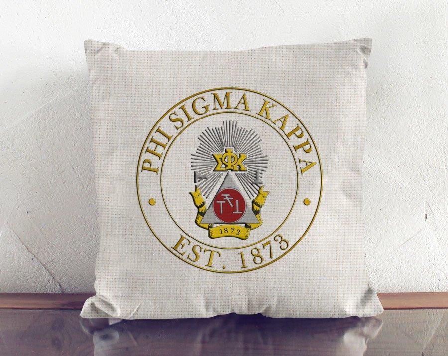 Phi Sigma Kappa Crest Linen Pillow