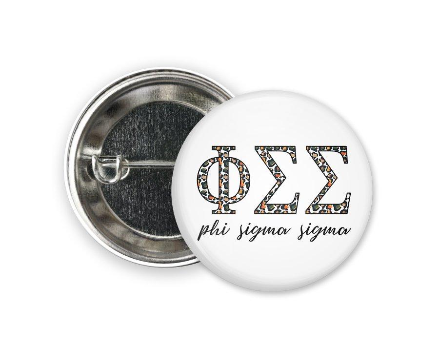 Phi Sigma Sigma Leopard Button