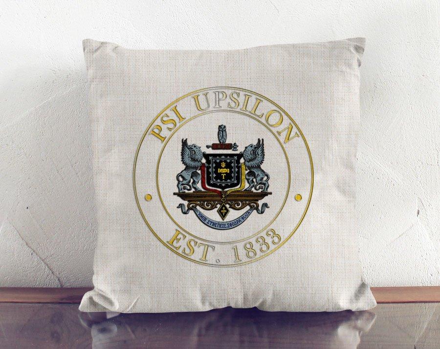 Psi Upsilon Crest Linen Pillow
