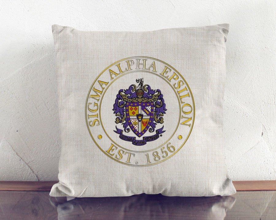 Sigma Alpha Epsilon Crest Linen Pillow