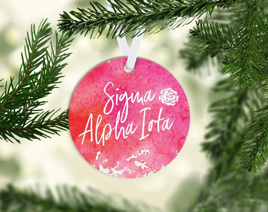 Sigma Alpha Iota Round Acrylic Watercolor Ornament