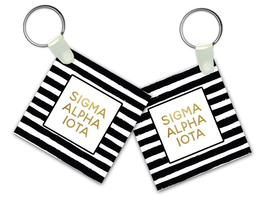 Sigma Alpha Iota Striped Gold Keychain