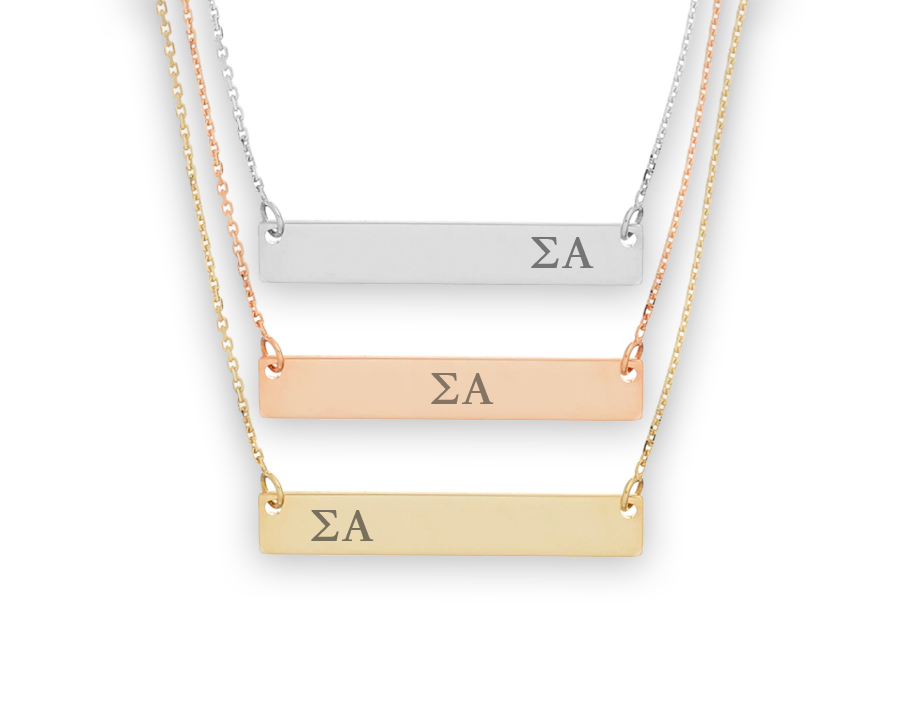 Sigma Alpha Letters Bar Necklace
