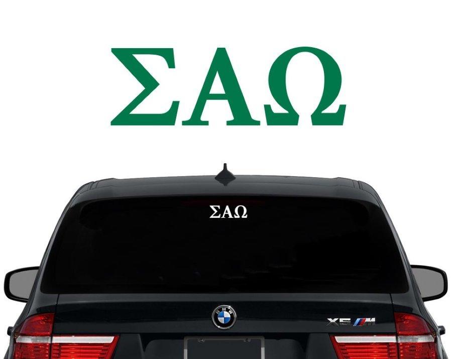 Sigma Alpha Omega Letters Decal