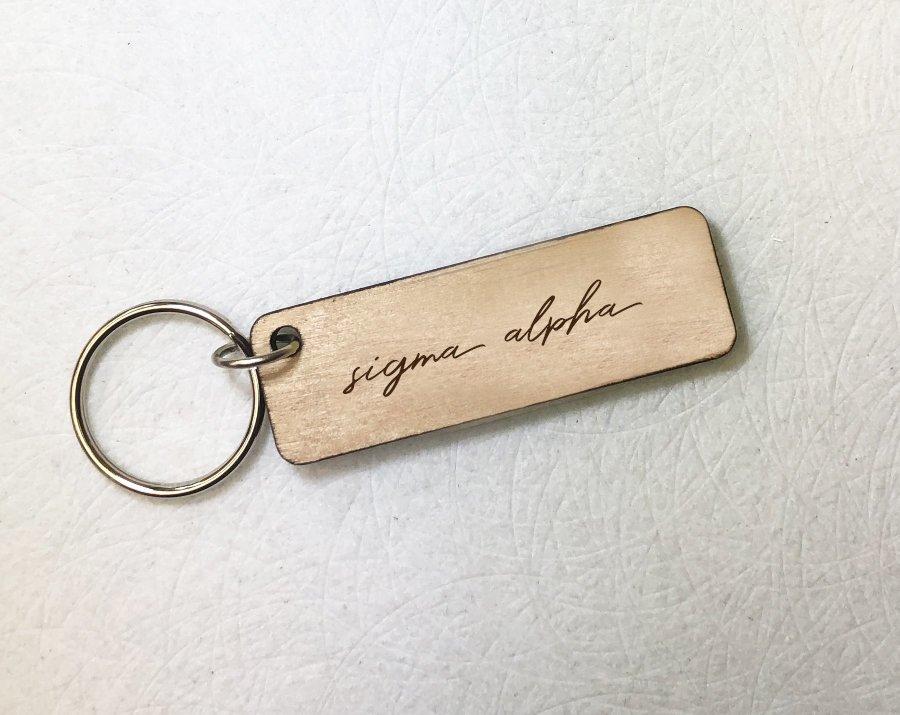 Sigma Alpha Rectangle Script Keychain