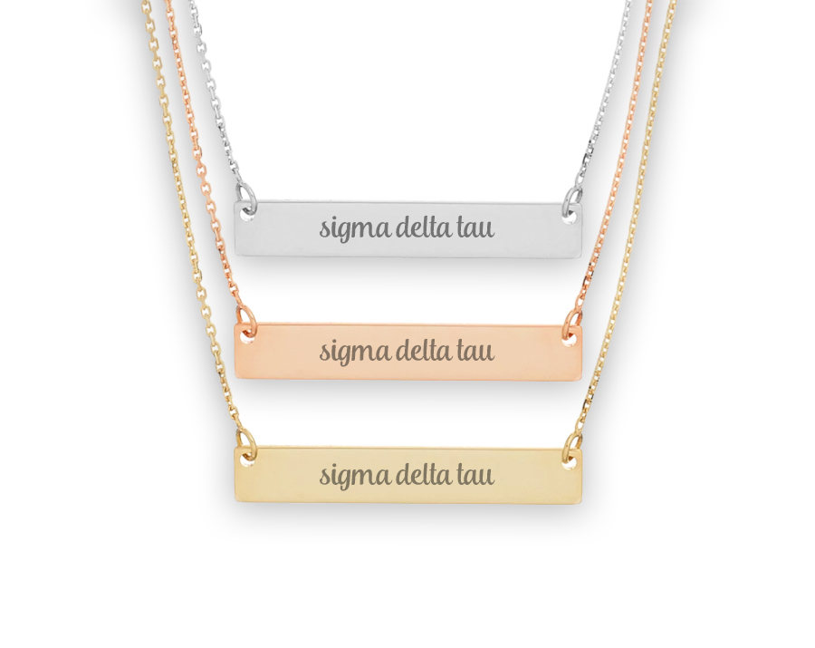 Sigma Delta Tau Script Bar Necklace