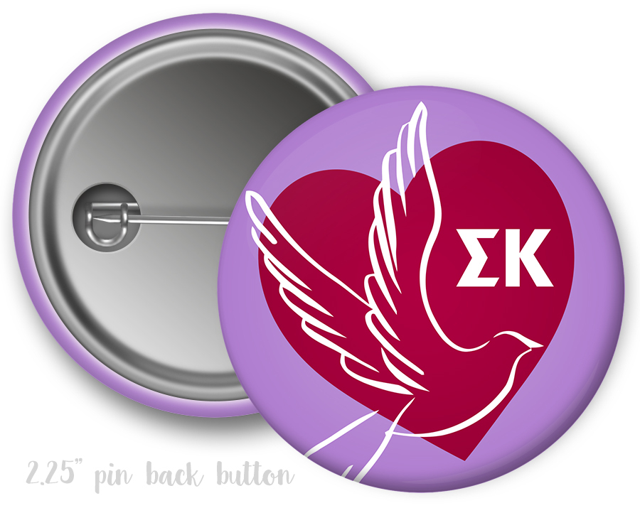 Sigma Kappa Heart Mascot Button