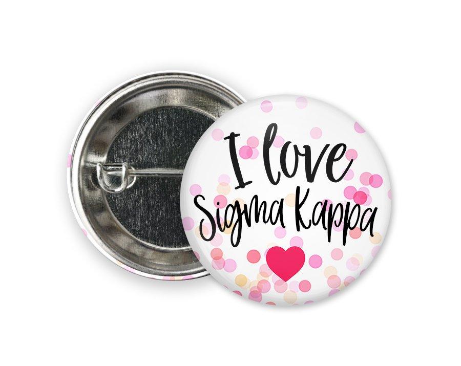 Sigma Kappa I Love Heart Bursting Button