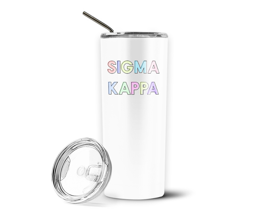 Sigma Kappa Pastel Letters Outline Stainless Tumbler