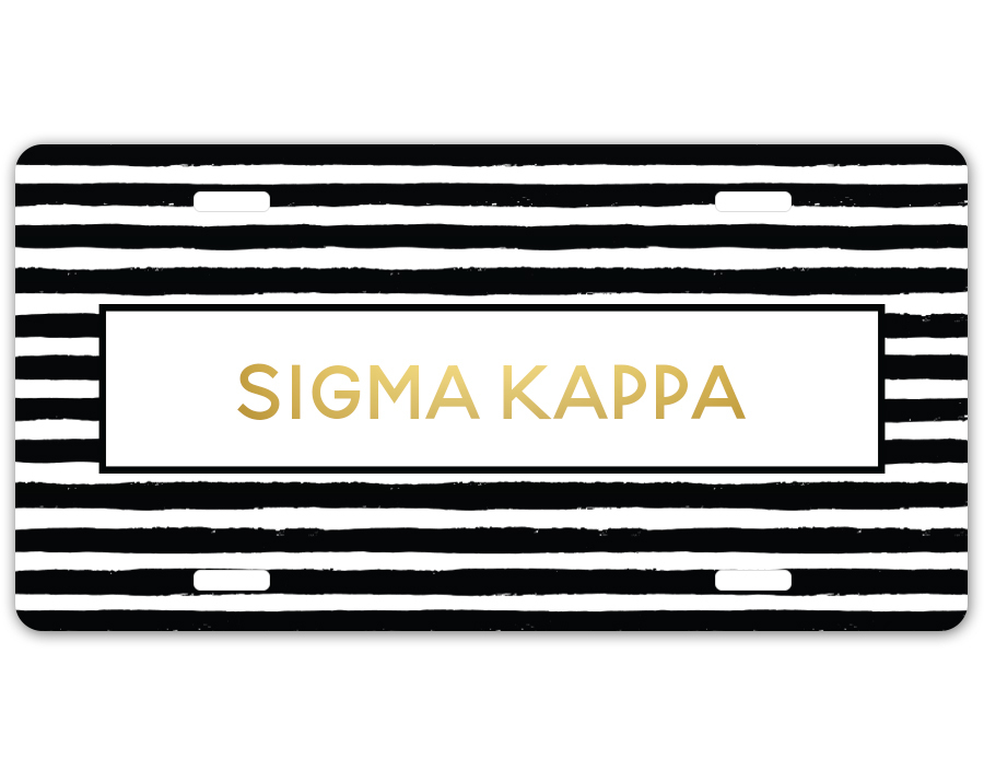 Sigma Kappa Striped Gold License Plate