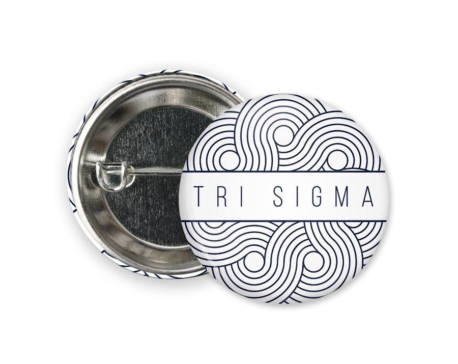 Sigma Sigma Sigma Geo Scroll Button Pin