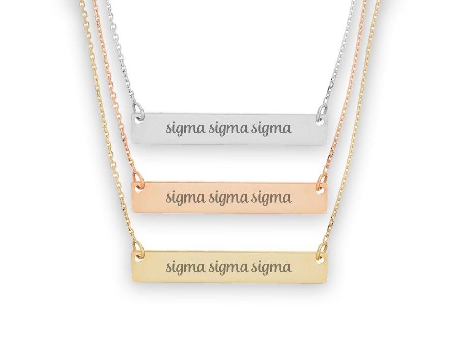 Sigma Sigma Sigma Script Bar Necklace