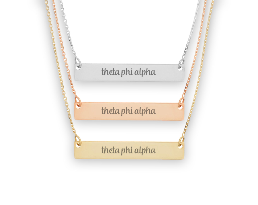 Theta Phi Alpha Script Bar Necklace