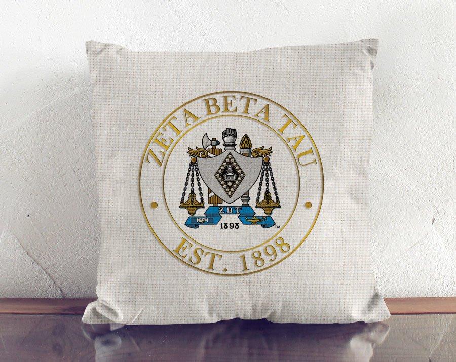 Zeta Beta Tau Crest Linen Pillow