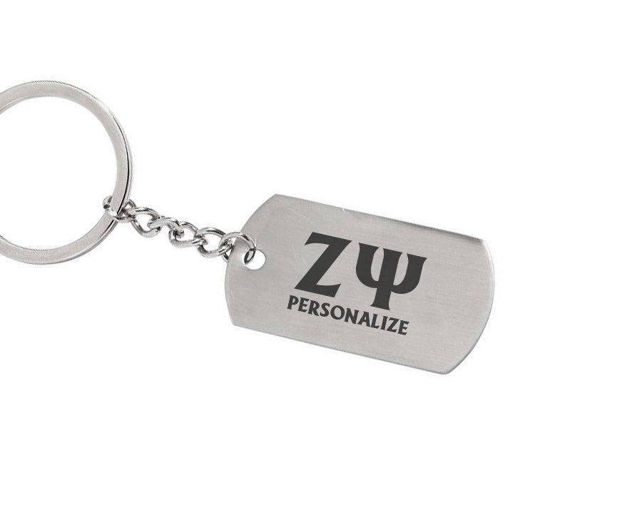 Zeta Psi Dog Tag Style Custom Keychain