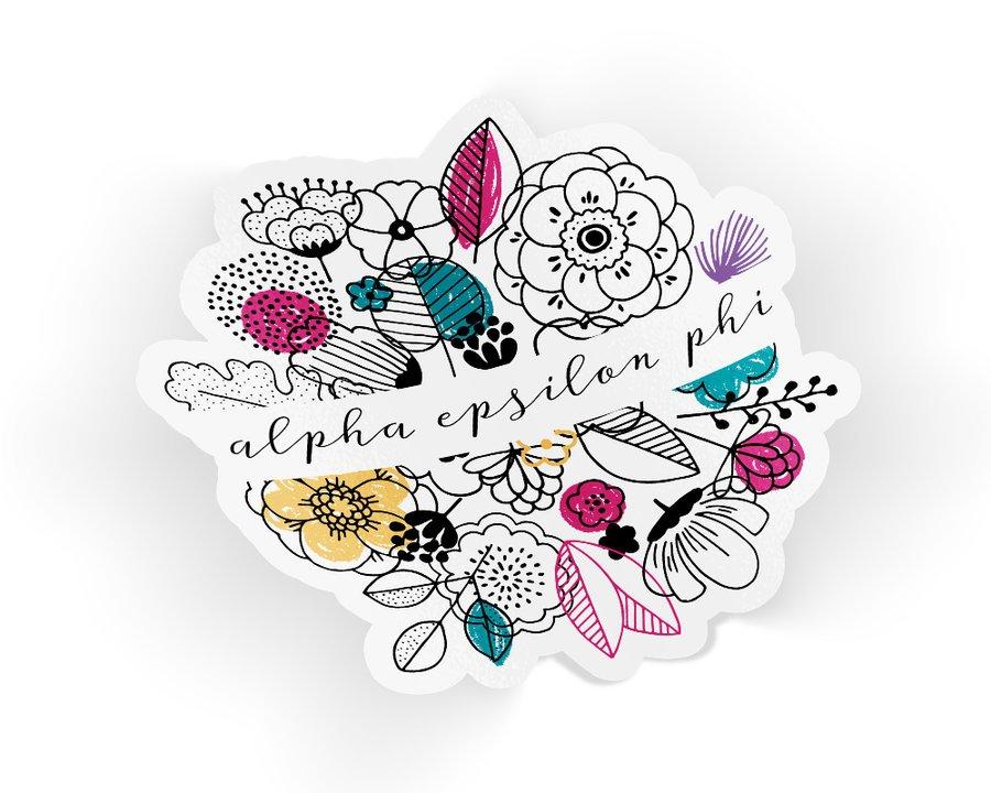 Alpha Epsilon Phi Flower Sticker