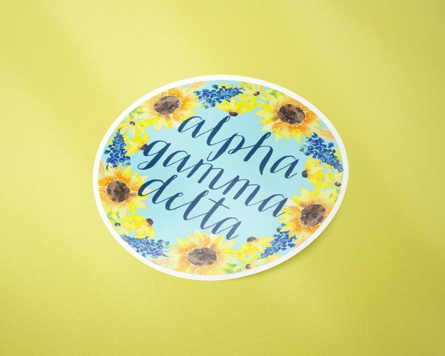 Alpha Gamma Delta Sunflower Sticker