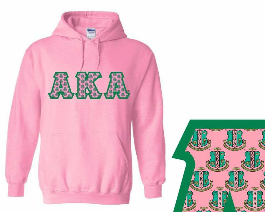 Alpha Kappa Alpha Crest - Shield Twill Letter Hooded Sweatshirt