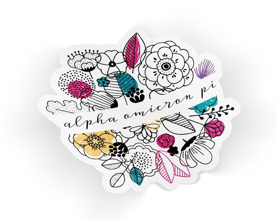 Alpha Omicron Pi Flower Sticker