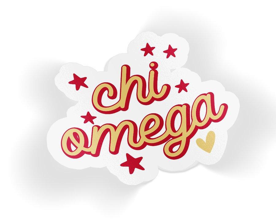 Chi Omega Star Sticker