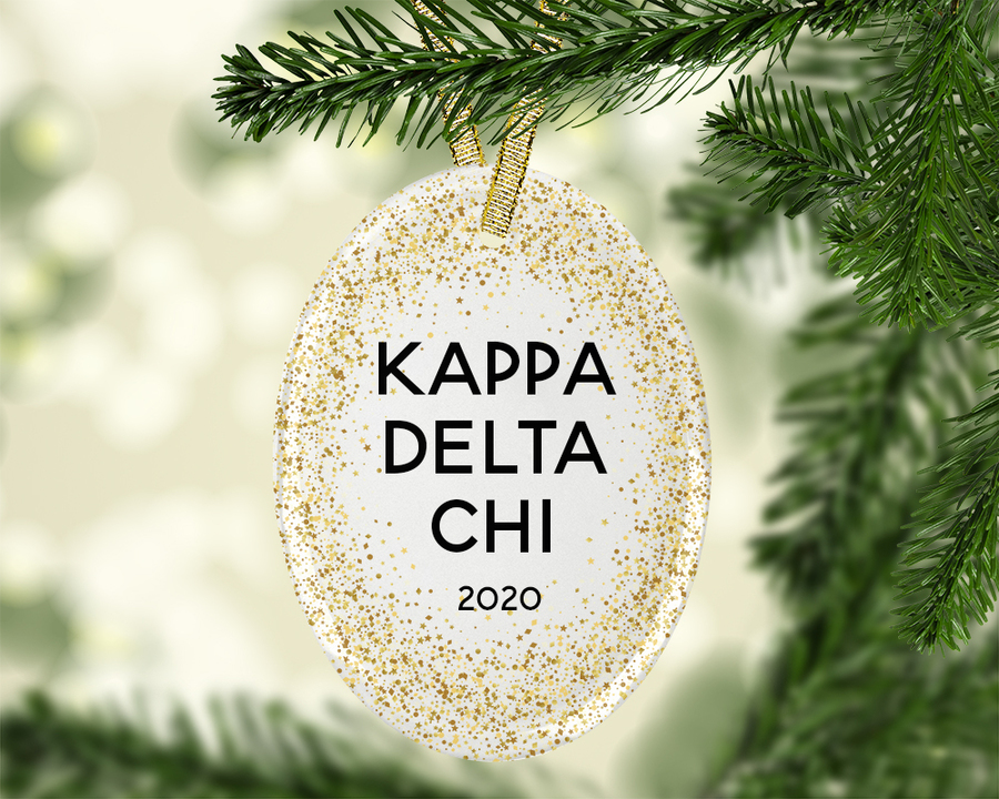 Kappa Delta Chi Gold Fleck Oval Ornament