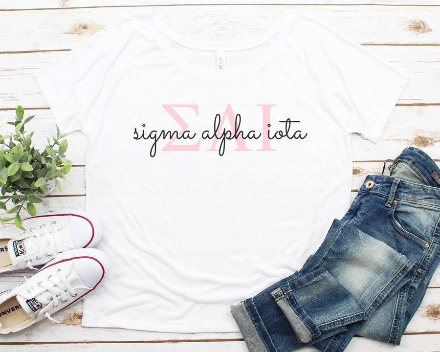 Sigma Alpha Iota Letters Script Flowy Tee